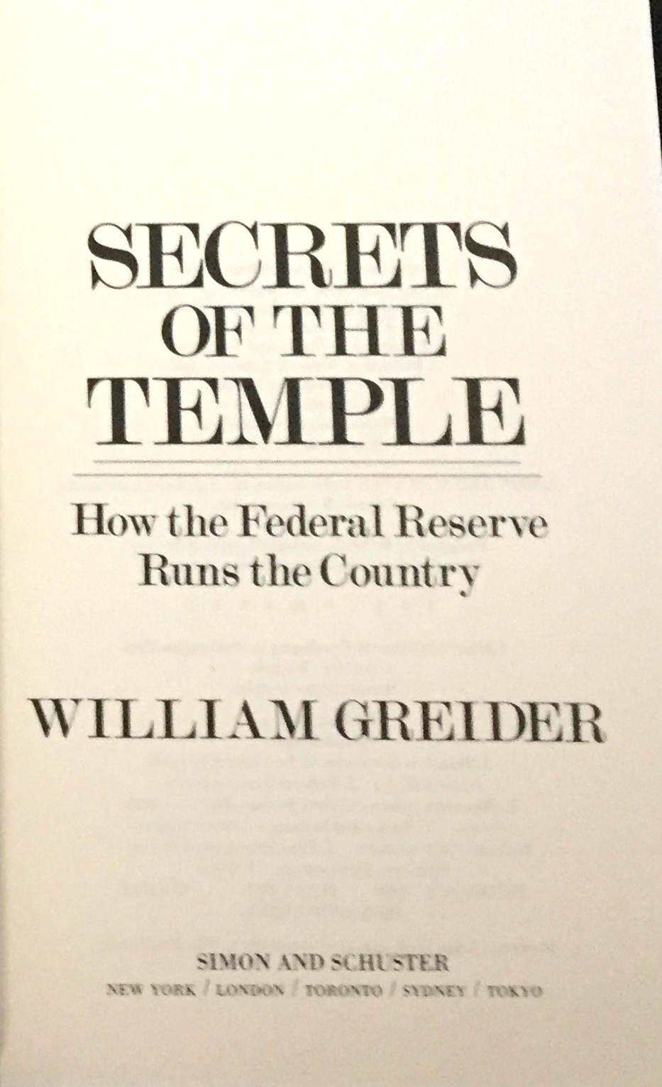 How the Federal Reserve Runs the Country Secrets of the Temple