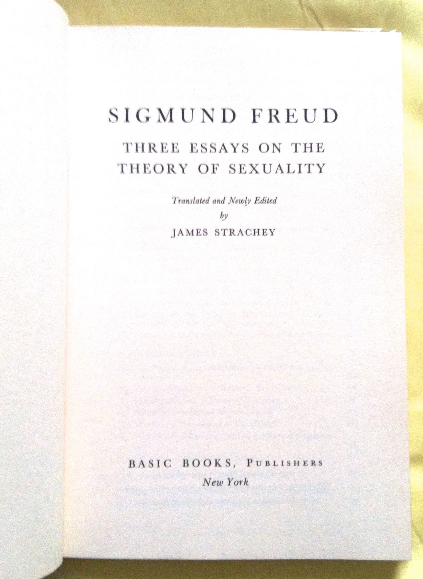 Three essays on the theory of sexuality james strachey