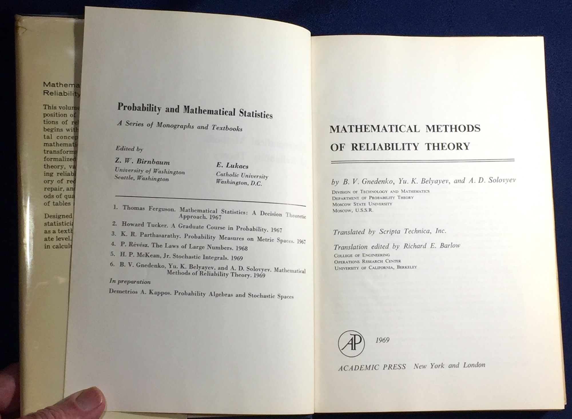 MATHEMATICAL METHODS OF RELIABILITY THEORY