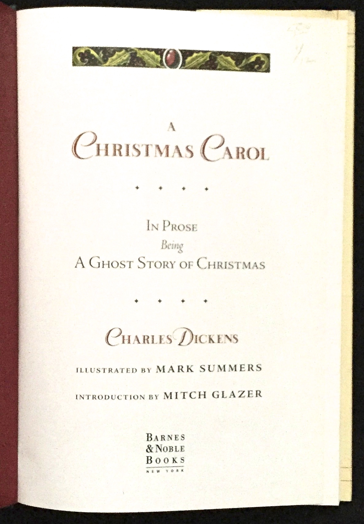 A CHRISTMAS CAROL / In Prose / Being / A Ghost Story of Christmas ...