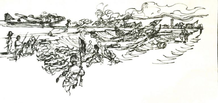 INK DRAWINGS of WWII BATAAN & PHILIPPINES Fighting; Frank Kravic Collection. Anonymous.