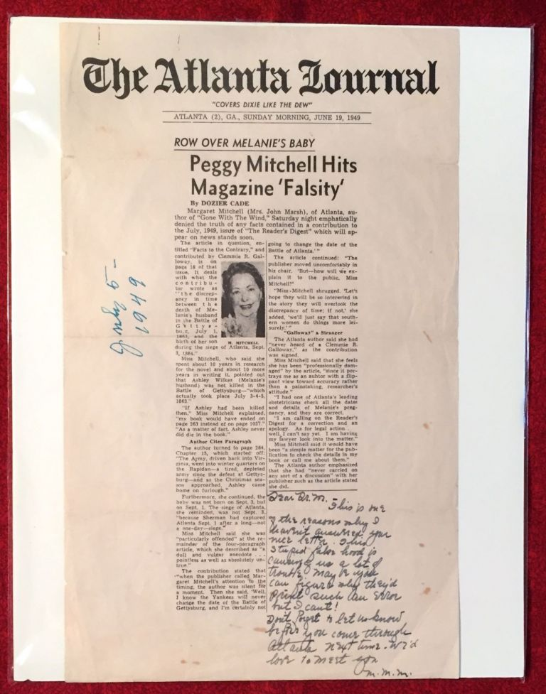 Autographed Letter Signed about an alleged Error in Gone With The Wind; about a supposed Chronological Error with Scandalous Effects. Margaret Mitchell.