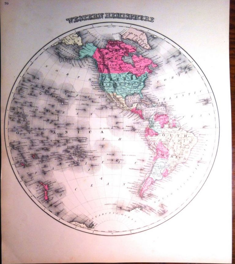 HAND-COLORED LITHOGRAPH of the WESTERN HEMISPHERE of the Globe; [North & South America]. Map, COLTON.