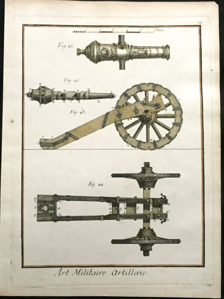 Canon Artillery; [hand-colored engraving]. Print, DIDEROT.
