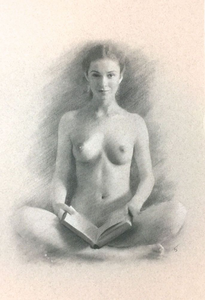 CLASSIC NAKED WOMAN,; HOLDING BOOK. Arthur Smith.