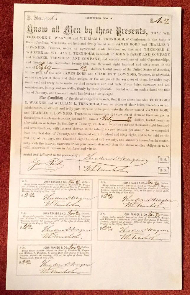 6% CONFEDERATE BOND SIGNED for the Confed. Treas., George Trenholm, by William TRENHOLM, [his son]. Civil War, Trenholm Fraser, Company, Blockade Runners.