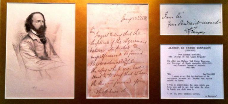 Autograph Letter Signed, January 23, 1866; to Mr. Hachett about a missing agreement. Alfred Lord Tennyson.