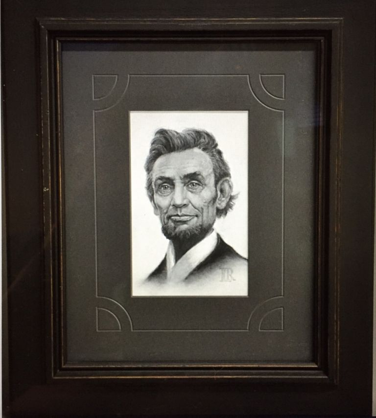Portrait of LINCOLN'S HEAD in Charcoal. Abraham Lincoln, Lucas Richardson.