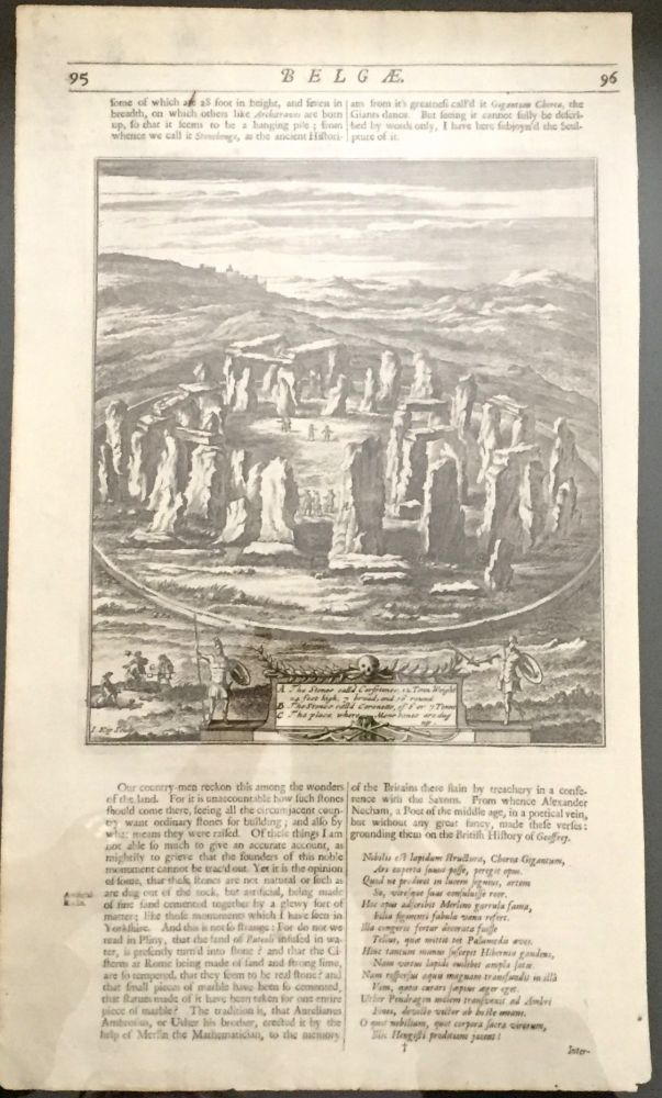 Woodcut of Stonehenge; from Belgae. Print, William Camden.