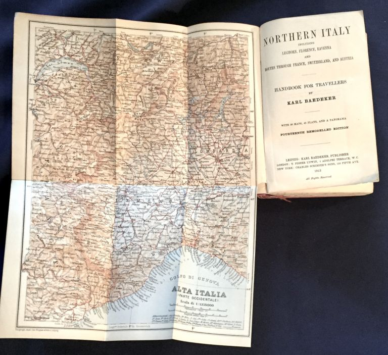 NORTHERN ITALY; Including Leghorn, Florence, Ravenna and Routes Through France, Switzerland, and Austria / Handbook for Travellers by Karl Baedeker / With 36 Maps, 45 Plans, and a Panorama. Baedeker, Karl Baedeker.