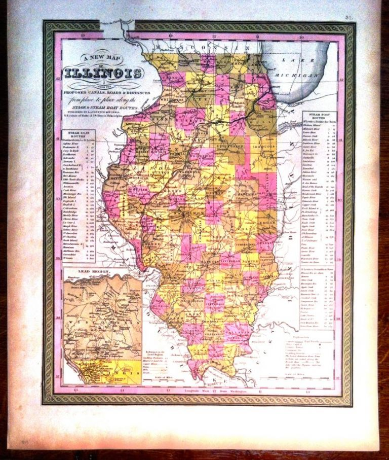 A NEW MAP OF ILLINOIS; with its proposed Canals, Roads & Distances. Map, Augustus MITCHELL.