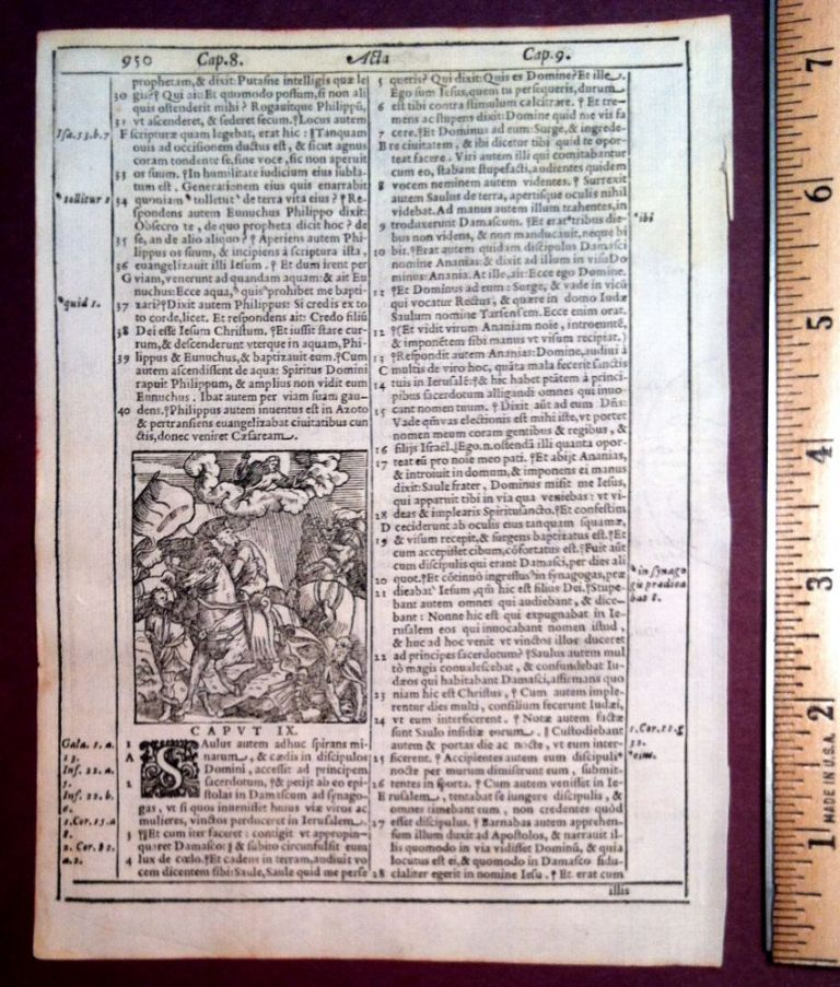 3 Woodcuts from the ACTS of the Apostles 8-9. Bible, 1584 Louvain Bible Leaf.