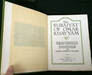 THE RUBAIYAT OF OMAR KHAYYAM; Rendered into English Verse by EDWARD FITZGERALD / Illustrated with thirty-eight pictures from photographs by MABEL EARDLEY-WILMOT