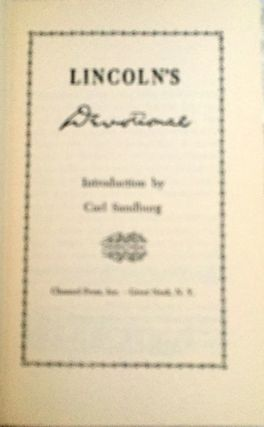 LINCOLN'S DEVOTIONAL [Facsimile]; Introduction by Carl Sandburg