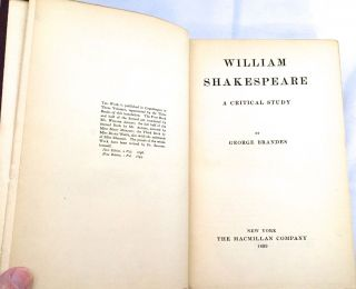 WILLIAM SHAKESPEARE; A Critical Study