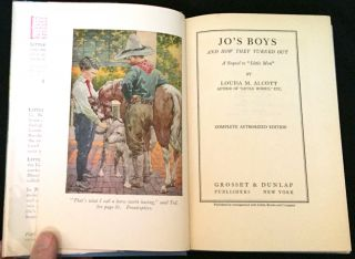 "JO'S BOYS / AND HOW THEY TURNED OUT; A Sequel to ""Little Men"" / Complete Authorized Edition"