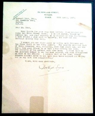 Typed Letter Signed about LORD PETER WIMSEY, Detective. Dorothy Sayers.