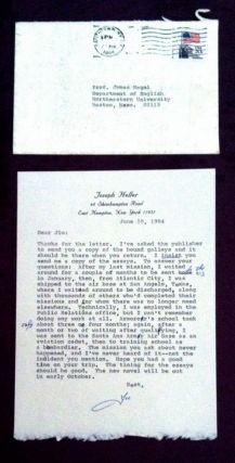 Typed Letter Signed about CATCH-22; 1 page (once folded), 8vo, to Prof. James Nagel concerning Heller's late military activities & a mistaken episode concerning his novel Catch-22. Joseph Heller.