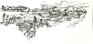 INK DRAWINGS of WWII BATAAN & PHILIPPINES Fighting; Frank Kravic Collection
