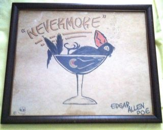 """NEVERMORE"" Cartoon, Al Capp, ~ Edgar Allen Poe."