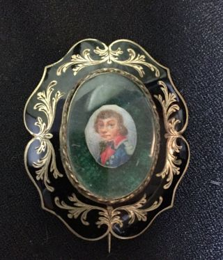 MINIATURE PORTRAIT of GENERAL TADEUSZ KOSCIUSZKO; finger-ring watercolor portrait reset in...