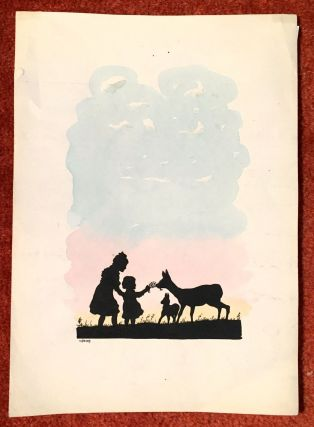 Children Feeding Deer. E. Francis, Silhouette of Children Feeding a. Doe, Fawn