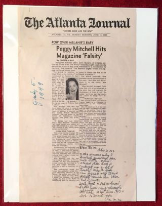 Autographed Letter Signed about an alleged Error in Gone With The Wind; about a supposed...