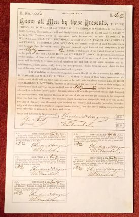 6% CONFEDERATE BOND SIGNED for the Confed. Treas., George Trenholm, by William TRENHOLM, [his...