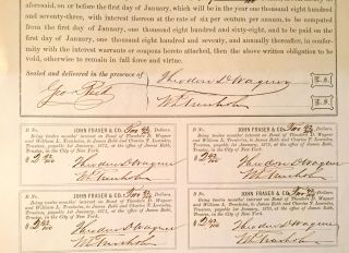 6% CONFEDERATE BOND SIGNED for the Confed. Treas., George Trenholm, by William TRENHOLM, [his son]