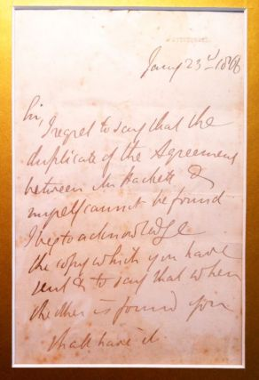 Autograph Letter Signed, January 23, 1866; to Mr. Hachett about a missing agreement