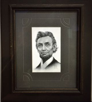 Portrait of LINCOLN'S HEAD in Charcoal. Abraham Lincoln, Lucas Richardson