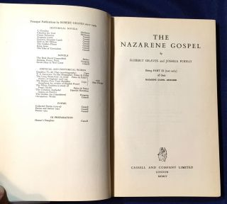 THE NAZARENE GOSPEL; by ROBERT GRAVES and JOSHUA PODRO / Being PART III (text only) / of their Nazarene Gospel Restored