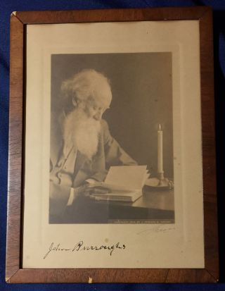 JOHN BURROUGHS' SIGNED PHOTOGRAPH. John Burroughs, J. Edward B. photographer Greene