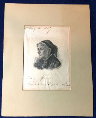 ENGRAVED PORTRAIT of HARRIET BEECHER STOWE; INSCRIBED & DATED by the AUTHOR