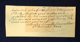 Autograph Note Signed by CHARLES CARROLL of CARROLLTON [Signer: Declaration of Independence]