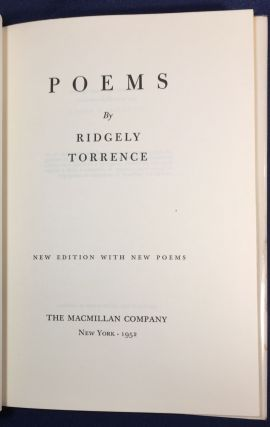 POEMS; by Riidgely Torrence / New Edition with New Poems