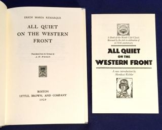 ALL QUIET ON THE WESTERN FRONT; Translated from the German by A. W. Wheen
