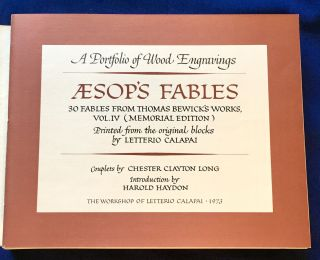 AESOP'S FABLES; Vol. IV. (Memorial Edition) A Portfolio of [30] Wood Engravings / 30 Fables from...