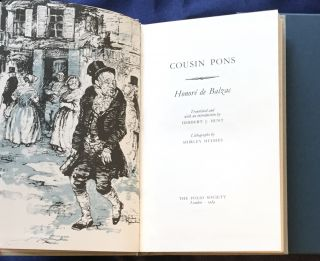 COUSIN PONS; Translated and with an introduction by Herbert J. Hunt / Lithographs by Shirley...
