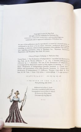 THE DECLARATION OF INDEPENDENCE; Illustrated and Inscribed by Sam Fink