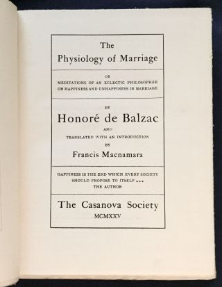 THE PHYSIOLOGY OF MARRIAGE; or Meditations of an Eclectic Philosopher on Happiness and...