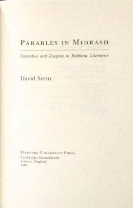 PARABLES IN MIDRASH; Narrative and Exegesis in Rabbinic Literature