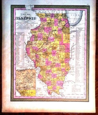 A NEW MAP OF ILLINOIS; with its proposed Canals, Roads & Distances. Map, Augustus MITCHELL