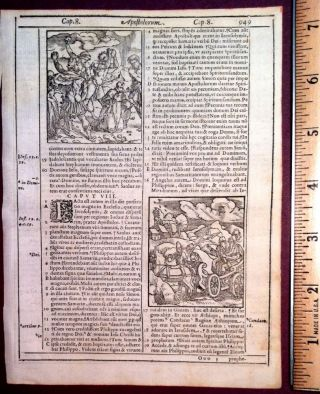 3 Woodcuts from the ACTS of the Apostles 8-9. Bible, 1584 Louvain Bible Leaf